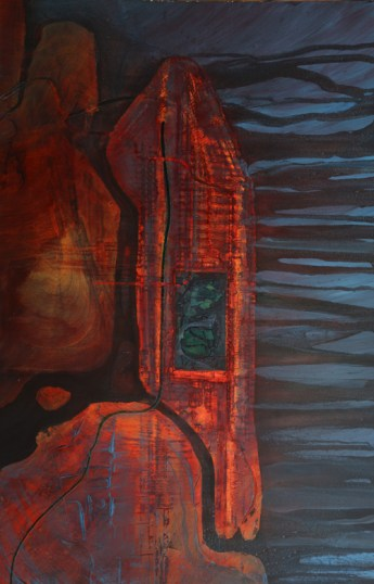 Island and Subway 48 x 72 oil on canvas