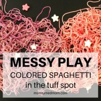 Mess: colored spaghetti in the tuff spot