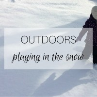 Outdoors: playing in the snow
