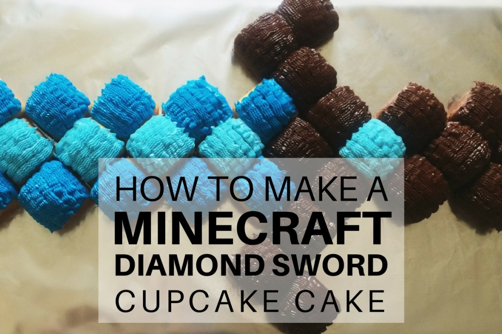 How to make a Minecraft Diamond Sword Cupcake Cake: super easy step-by-step tutorial