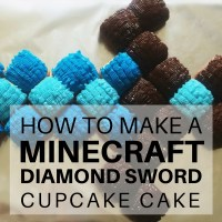 How to make a Minecraft Diamond Sword cupcake cake