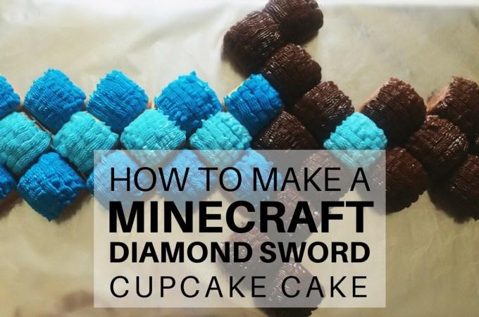 How to make a Minecraft Diamond Sword Cupcake Cake: super easy step-by-step tutorial