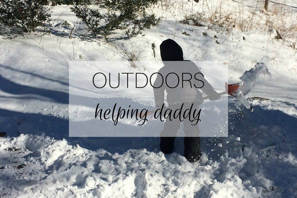 Outdoors: helping daddy