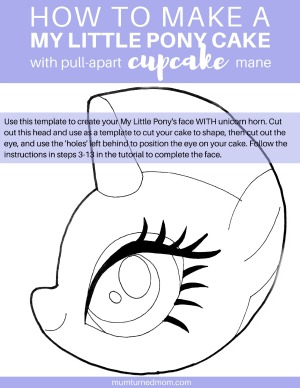How to make a My Little Pony Cake with pull-apart cupcake mane - PRINTABLE TEMPLATE FOR FACE