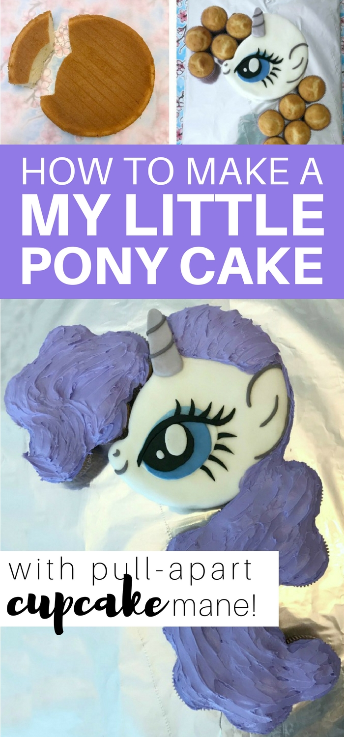 How to make a My Little Pony cake with pull-apart cupcake mane: easy step-by-step tutorial