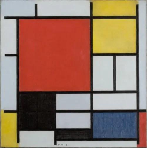 モンドリアン-《大きな赤の色面、黄、黒、灰、青色のコンポジション》