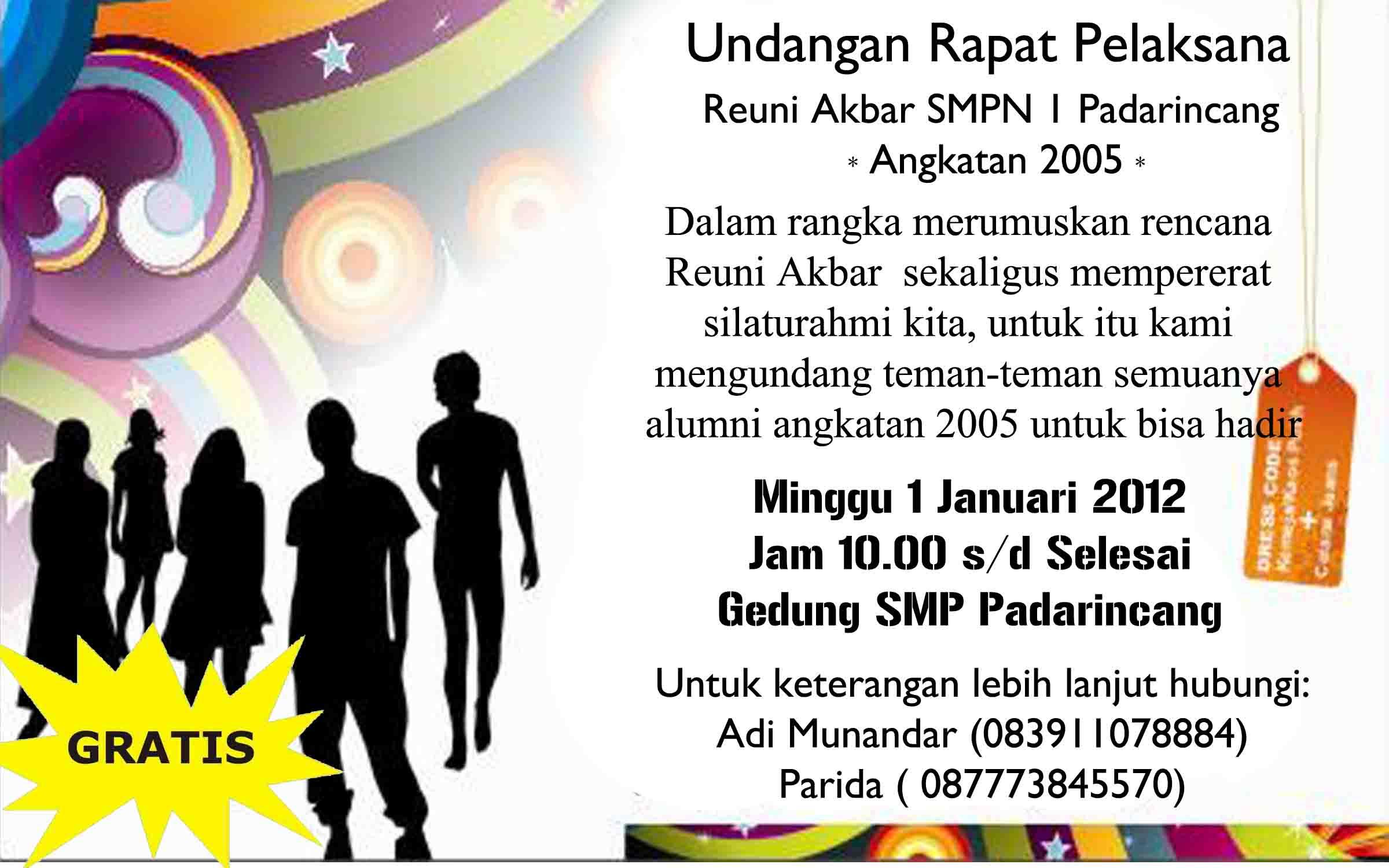 Undangan Rapat Pelaksana Reuni Akbar 2005 Adi Munandar