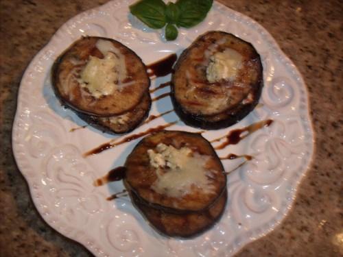 Grilled Eggplant Neopolitans w/Tomato, Goat Cheese & Mozarella