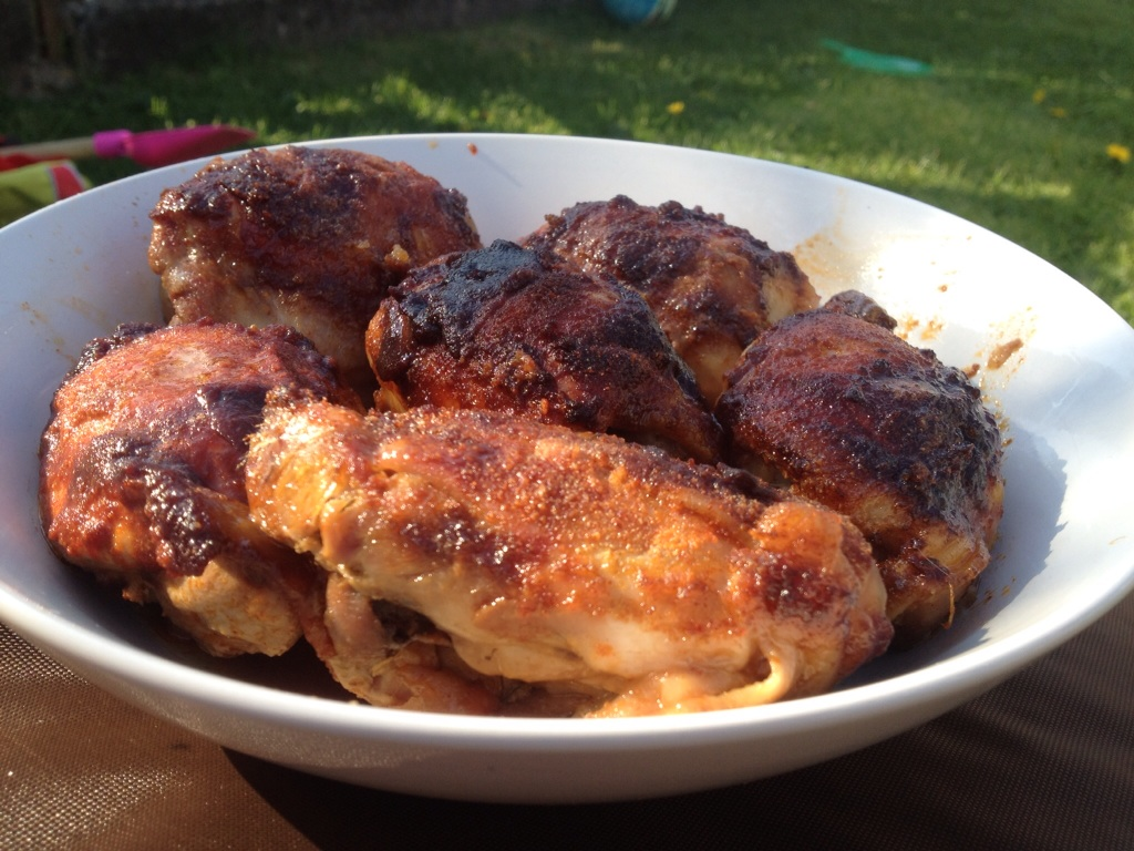 slow cooker bbq style sticky chicken thighs