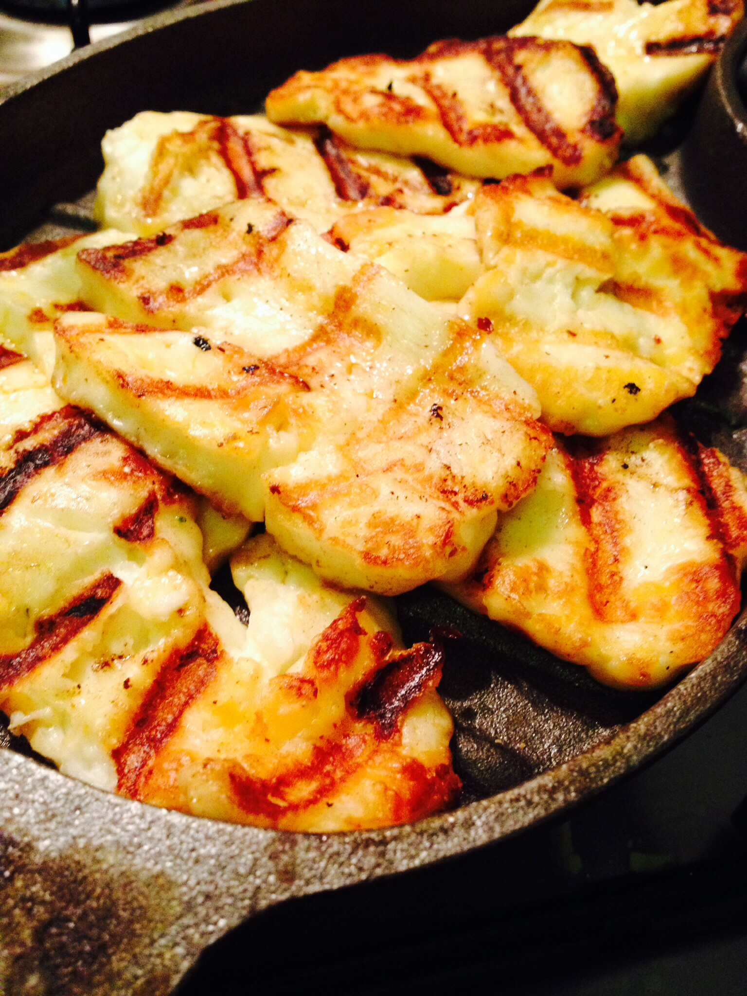 Halloumi with chilli oil