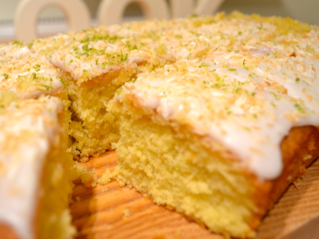Lime and coconut traybake