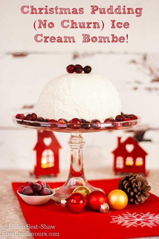 Christmas pudding ice cream bombe