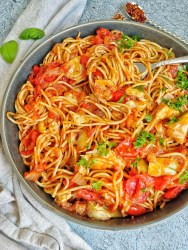 Bowl of Spaghetti with cherry tomatoes