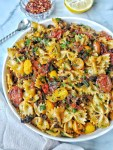 Bowtie Pasta with Tomatoes and Mushrooms