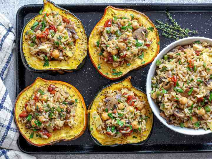 Stuffed Acorn Squash with extra filling served on the side