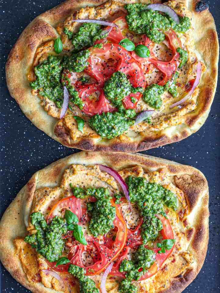Sun-Dried Tomato Tofu Ricotta Pesto Pizza