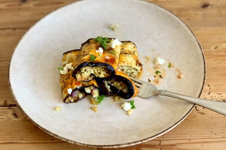 Greek Style Stuffed Eggplant Rolls Vegetarian Munchyesta