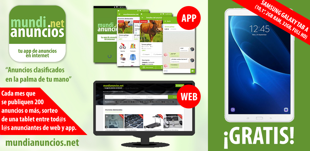 Promoción tablet gratis mundianuncios.net app clasificados