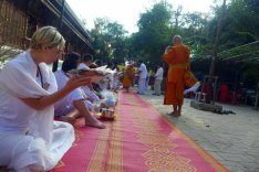 offering alms food for the monks