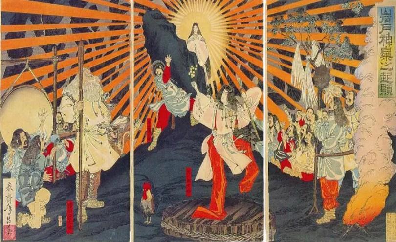 Amaterasu emergindo da caverna. Obra do artista Shunsai Toshimasa (Foto: Reprodução/Google Cultural Institute)