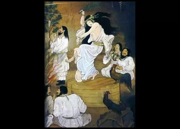 Deusa Uzume dançando em cima do barril (Foto: Mundo-Nipo/Livro Legends of Japan)