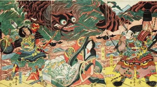 Hidesato e a Centopeia Gigante - obra do artista Katsukawa Shuntei,  entre 1815-1820 | Foto:  Museu Nacional de Tóquio