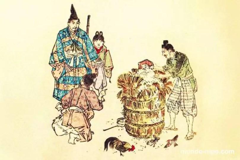 Hidesato e o saco de arroz mágico   Foto: Mundo-Nipo / Livro My Lord Bag-o-Rice, de 1887