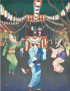 Kitsune disfarçada, dançando com humanos (Foto: Reprodução da obra do artista Matthew Meyer)