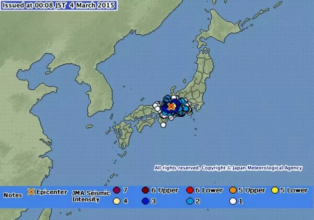 Terremoto em Toka em 03-03-2015 (Imagem: Reprodução/JMA)