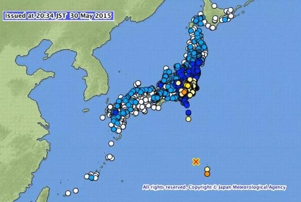 Terremoto de 8,5 com epicentro em Ogasawara (Imagem: Reprodução/JMA)