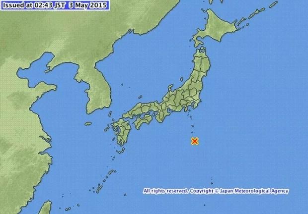 A imagem da agência japonesa mostra o epicentro do terremoto (imagem: Reprodução/JMA)
