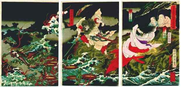 Susanoo contra Yamata-no-Orochi. Gravura do artista Toyohara Chikanobu, datada de 1870 (Foto: Museu Nacional de Tóquio)