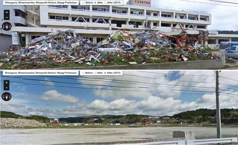 Construções danificadas em Miyagi (Fotos: Reprodução/Google Street View)