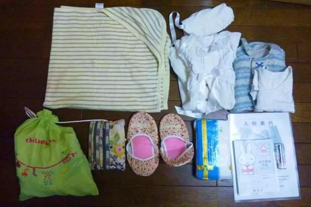 Itens que uma mãe no Japão leva para maternidade (Foto: Reprodução/WaterAid)