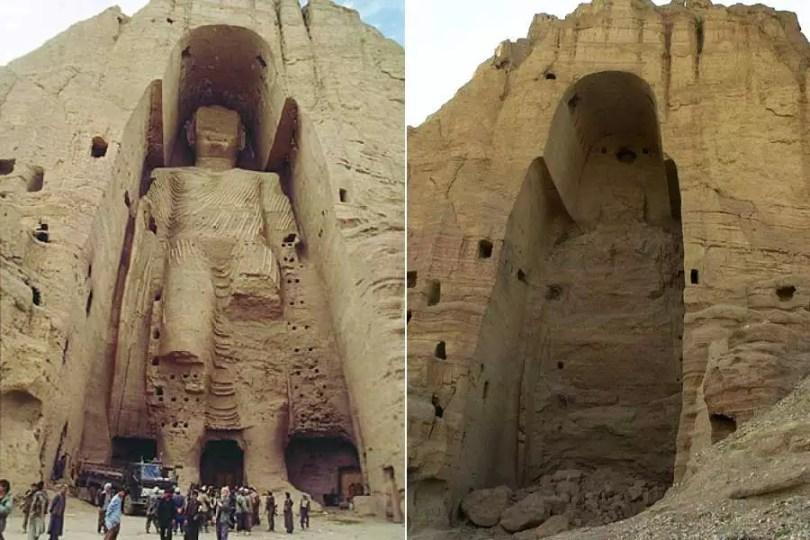 Buda de Bamiyan antes e depois da destruição (Fotoa: Reprodução/Montagem MN)