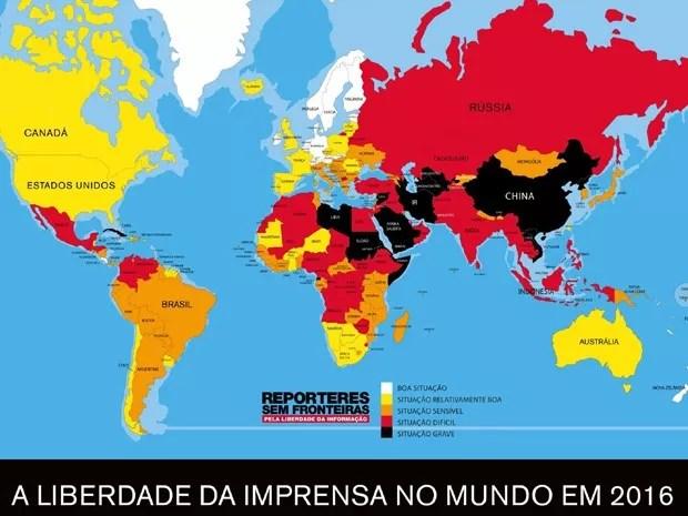Mapa do estudo Liberdade de Imprensa no Mundo em 2016 (Foto: Divulgação/RSF)