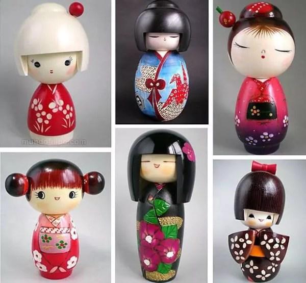 Estilos de boneca kokeshi moderna (Foto: Montagem Mundo-Nipo)