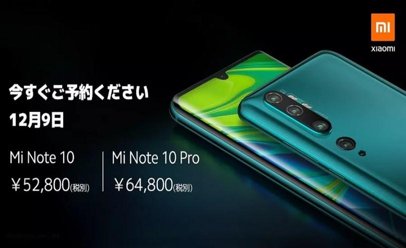 Preços da linha Xiaomi Mi Note 10 no Japão | Foto Divulgação / Edição MN