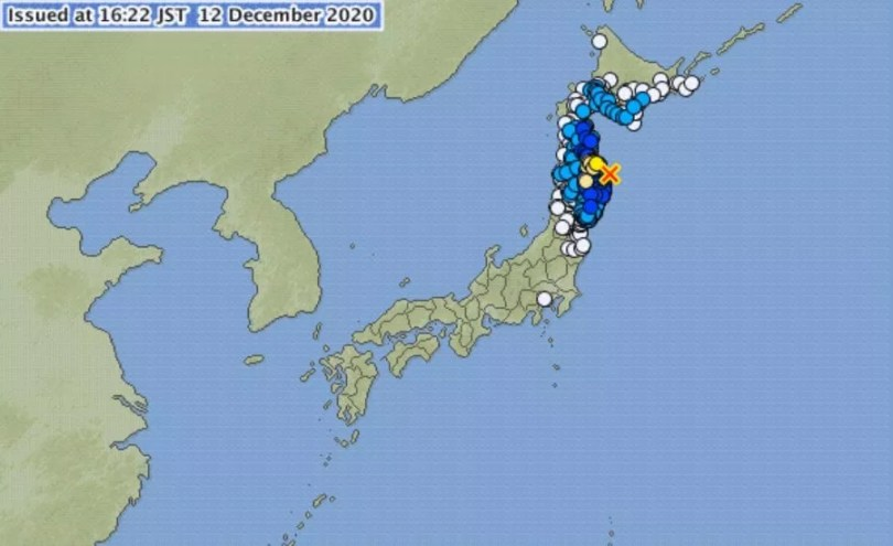 Terremoto no nordeste do Japão em 12-12-2020   Foto: JMA