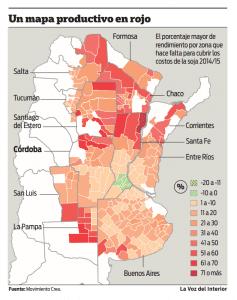 mapa productivo en rojo de la soja