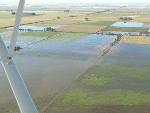 campos inundados desde el aire