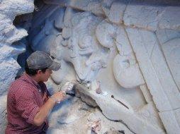 Expertos trabajan en la reconstrucción de algunas partes de los murales - El Mirador, Petén - Ciudad Maya