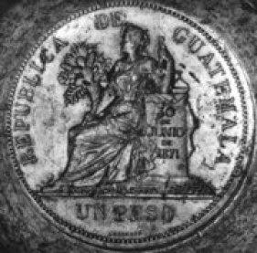 Un Peso, moneda en Guatemala en 1871 - foto por Juan Arturo Martinez
