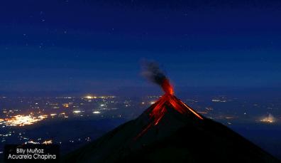 volcan de fuego visto desde el volcan acatenango enero 2014 foto por billy mun cc 83oz de acuarela chapina - Galeria de Fotos de Guatemala por Billy Muñoz