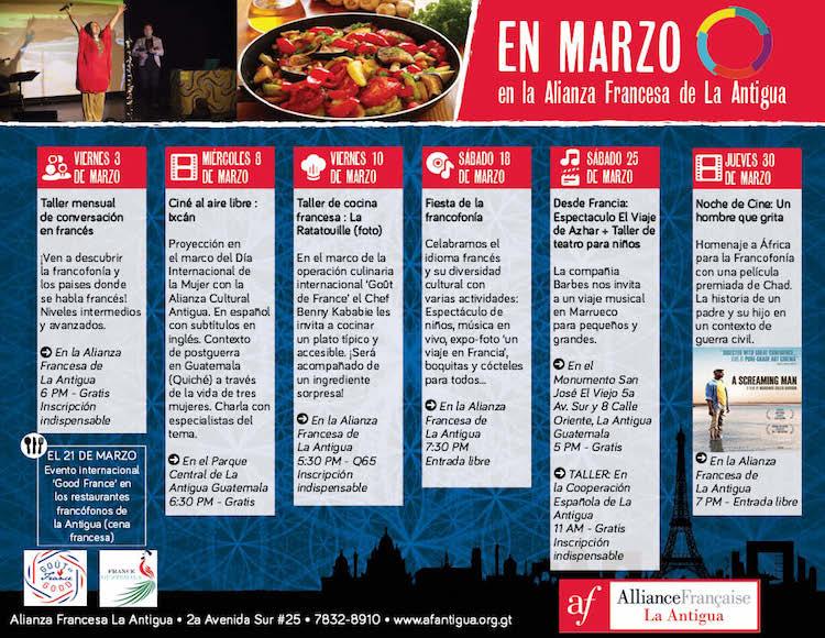 agenda cultural marzo 2017 1 - Marzo en la Alianza Francesa