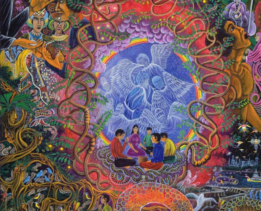 "Alli Mariri By Pablo Amaringo. Aparece no livro ""The Ayahuasca Visions of Pablo Amaringo"" (""As visões de Ayahuasca de Pablo Amaringo"") por Howard G. Charing."