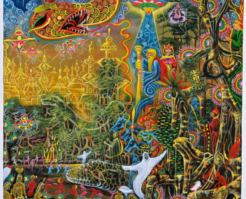 "Sumac Icaro By Pablo Amaringo. Aparece no livro ""The Ayahuasca Visions of Pablo Amaringo"" (""As visões de Ayahuasca de Pablo Amaringo"") por Howard G. Charing."