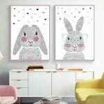 Canvas de conejo rosa y conejo azul