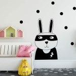 Vinilo decorativo infantil conejo superhéroe