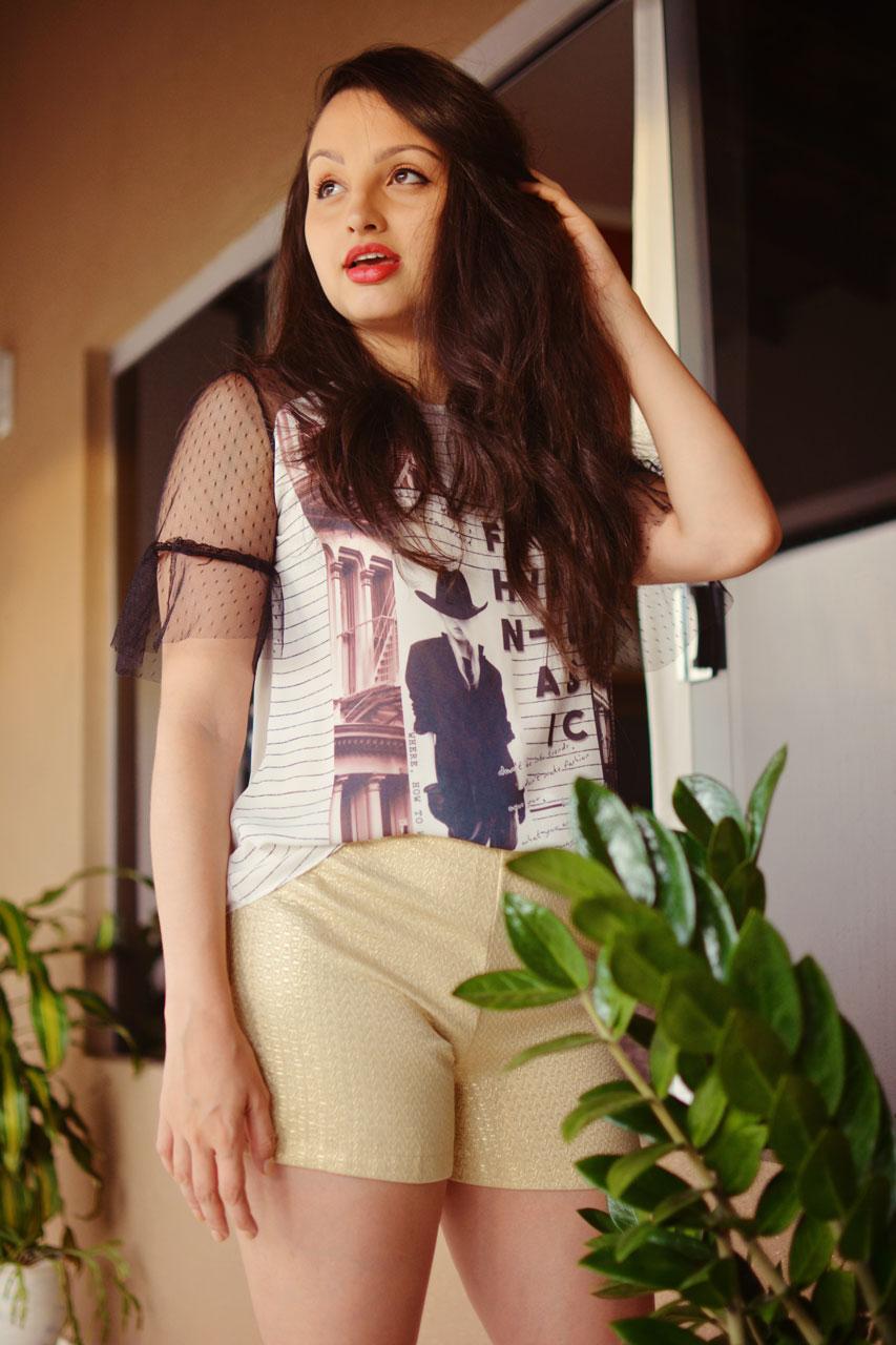 Look Blusa PB Shorts Dourado